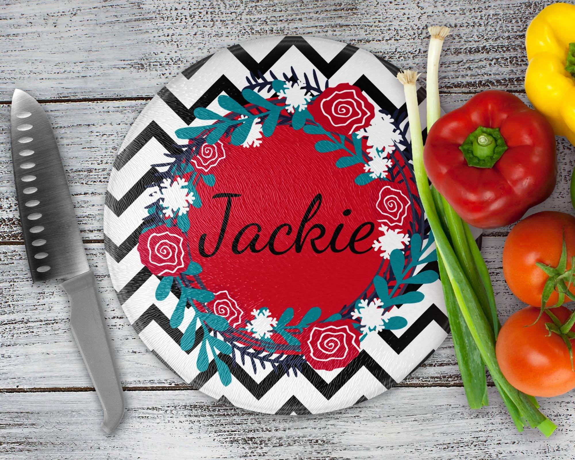 Cutting Boards | Personalized Cutting Board | Custom Glass Cutting Board | Black Chevron | This and That Solutions | Personalized Gifts | Custom Home Décor