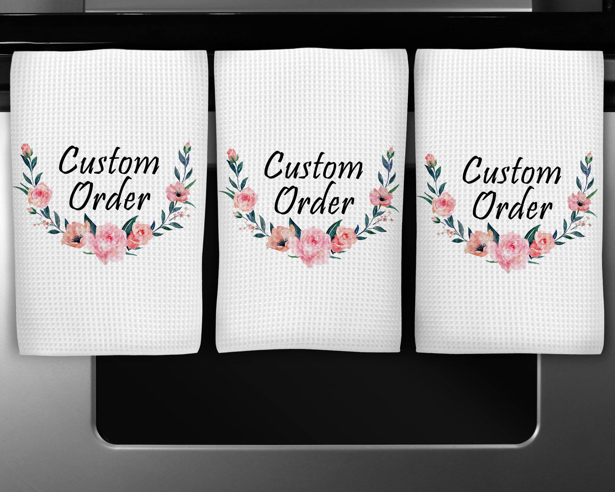 Dishcloths & Kitchen Towels | Personalized Hand Towel Waffle Textured | Custom Kitchen Gifts | Custom Order | This and That Solutions | Personalized Gifts | Custom Home Décor