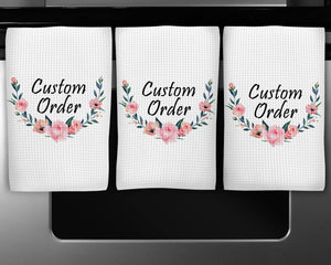 Personalized Hand Towel Waffle Textured | Custom Kitchen Gifts | Home Decor | Custom Order