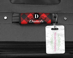 Luggage Tags | Custom Luggage Wrap | Bag Finder | Custom Bag Tag | Red and Black Plaid 2 | This and That Solutions | Personalized Gifts | Custom Home Décor