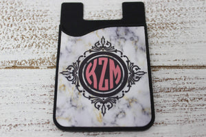Phone Cases | Personalized Cell Phone Caddy | Monogram Phone Wallet | Marble Monogram | This and That Solutions | Personalized Gifts | Custom Home Décor