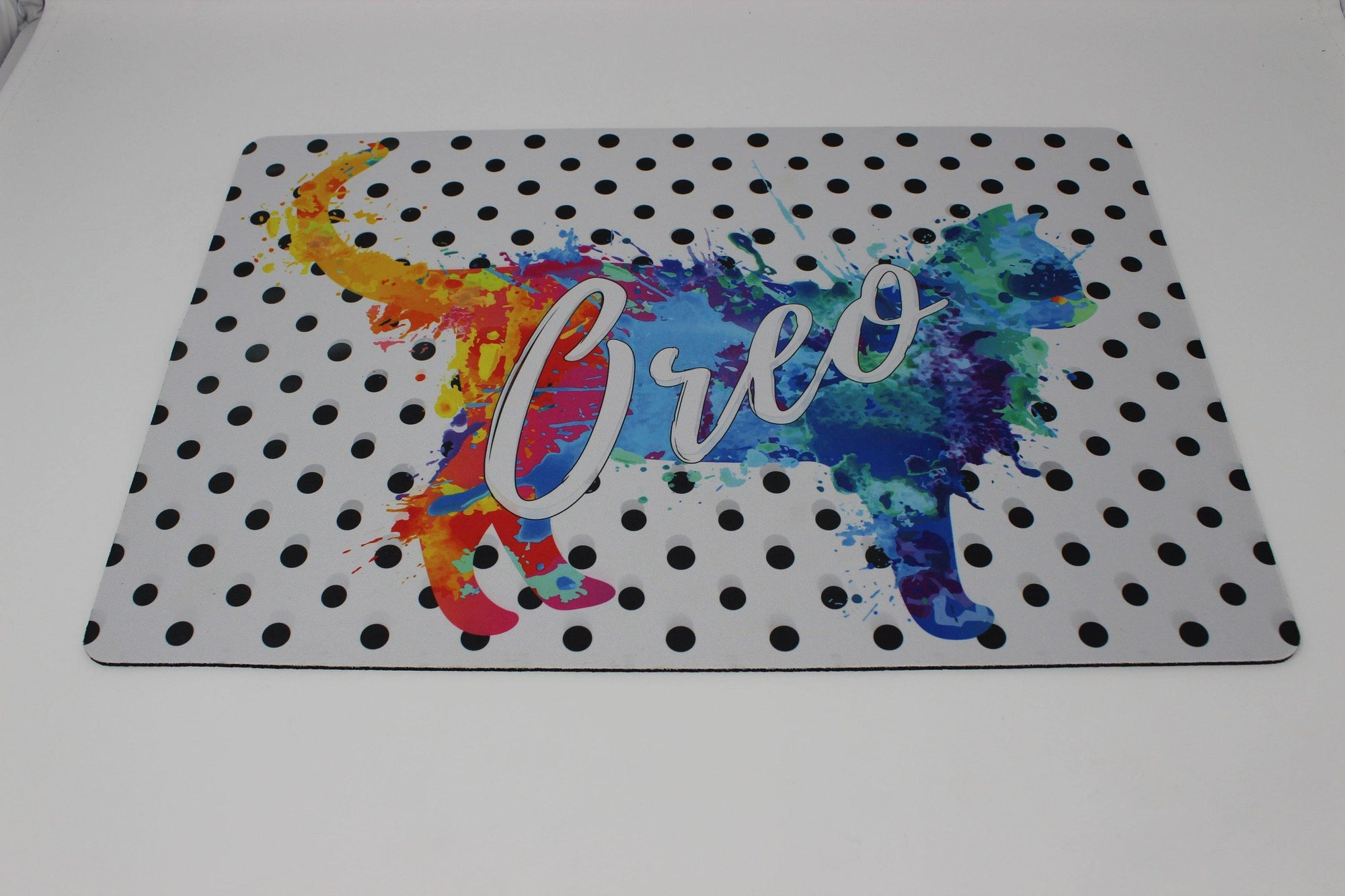 Placemats | Personalized Pet Placemat | Custom Pet Placemat | Pet Accessories | Cat Polka Dot | This and That Solutions | Personalized Gifts | Custom Home Décor
