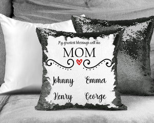 Decorative Pillows | Personalized Sequin Throw Pillow | Custom Sequin Pillow | Mom's Greatest Blessing | This and That Solutions | Personalized Gifts | Custom Home Décor