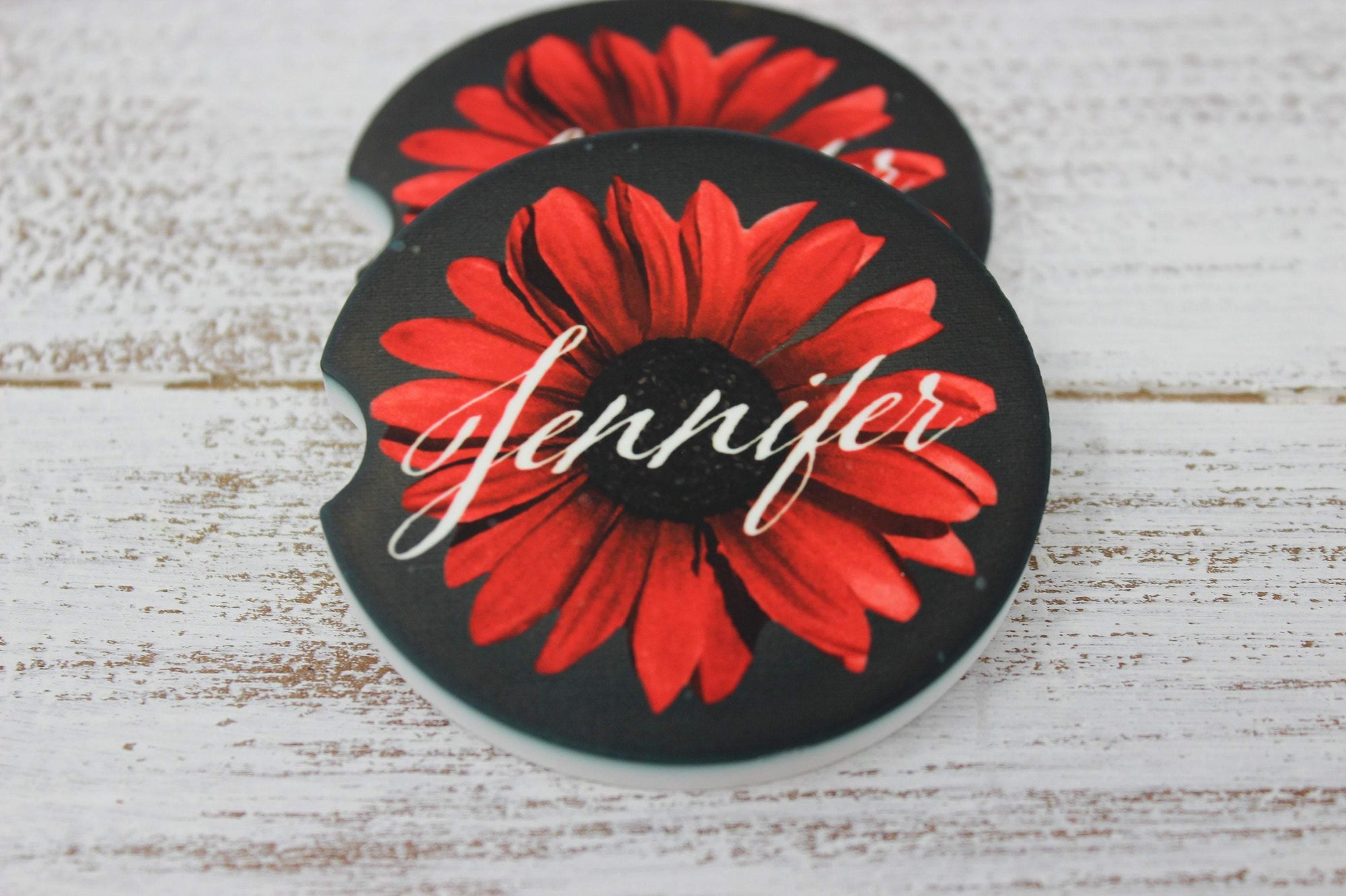 Car Accessories | Personalized Car Coasters | Custom Car Accessories | Gerber Daisy | Set of 2 | This and That Solutions | Personalized Gifts | Custom Home Décor