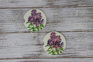 Car Accessories | Personalized Car Coasters | Custom Car Accessories | Lilac | Set of 2 | This and That Solutions | Personalized Gifts | Custom Home Décor