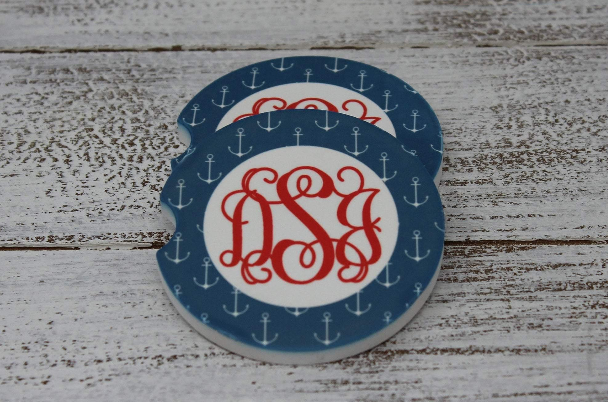 Car Accessories | Personalized Car Coasters | Custom Car Accessories | Anchors | Set of 2 | This and That Solutions | Personalized Gifts | Custom Home Décor