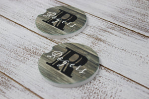 Car Accessories | Personalized Car Coasters | Custom Car Accessories | Rustic Monogram | Set of 2 | This and That Solutions | Personalized Gifts | Custom Home Décor