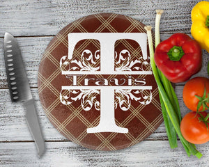 Cutting Boards | Personalized Cutting Board | Custom Glass Cutting Board | Brown Argyle | This and That Solutions | Personalized Gifts | Custom Home Décor