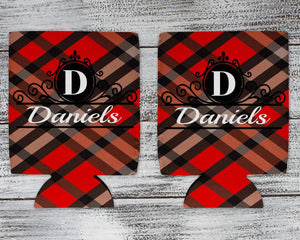 Cozies | Personalized Drink Beverage Insulator | Monogrammed Cozie | Red and Black Plaid 1 | This and That Solutions | Personalized Gifts | Custom Home Décor
