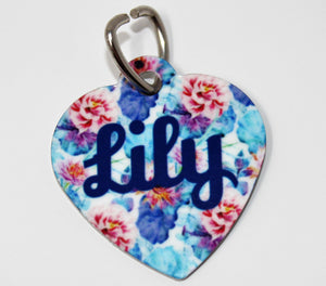 Pet ID Tags | Personalized Pet Tags | Custom Pet Tags | Pet Accessories | Red & Blue Floral | This and That Solutions | Personalized Gifts | Custom Home Décor