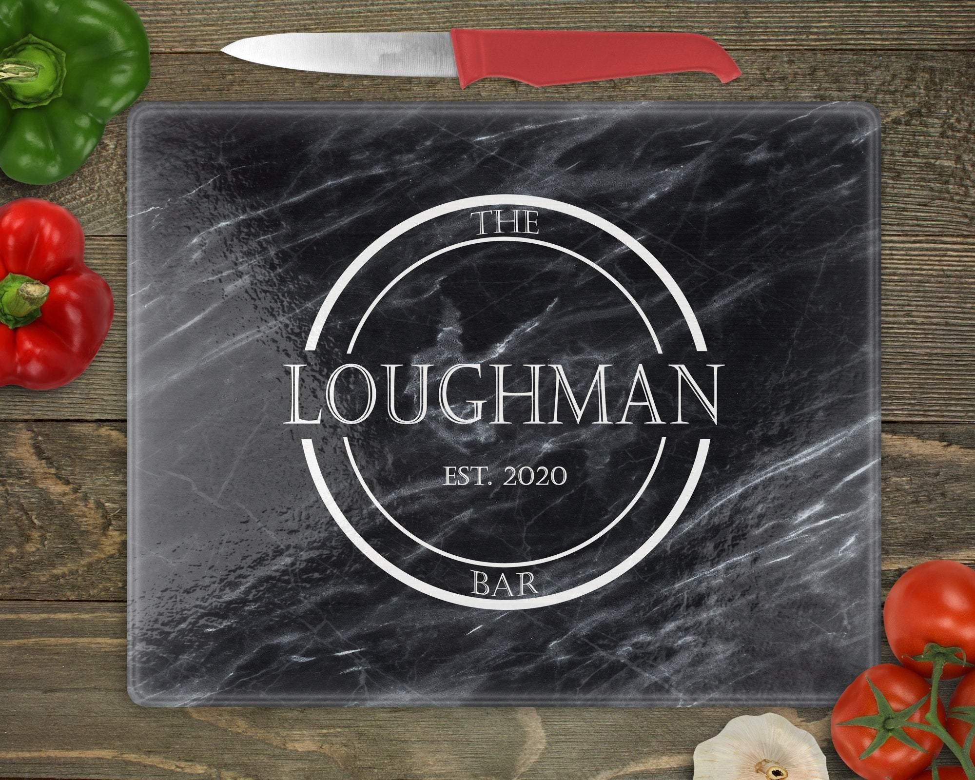 Cutting Boards | Personalized Cutting Board | Custom Glass Cutting Board | Black Marble Bar | This and That Solutions | Personalized Gifts | Custom Home Décor