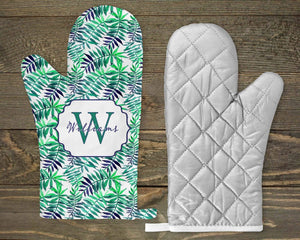 Personalized Oven Mitts | Custom Kitchen Decor | Fern | Blue and Green Fern | Monogram