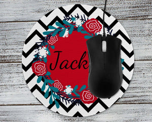 Mousepads | Monogrammed Mouse Pad | Personalized Mouse Pad | Black Chevron | This and That Solutions | Personalized Gifts | Custom Home Décor