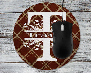 Mousepads | Monogrammed Mouse Pad | Personalized Mouse Pad | Brown Argyle | This and That Solutions | Personalized Gifts | Custom Home Décor