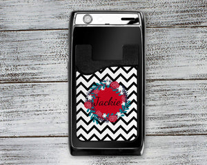 Phone Cases | Personalized Cell Phone Caddy | Monogram Phone Wallet | Black Chevron | This and That Solutions | Personalized Gifts | Custom Home Décor