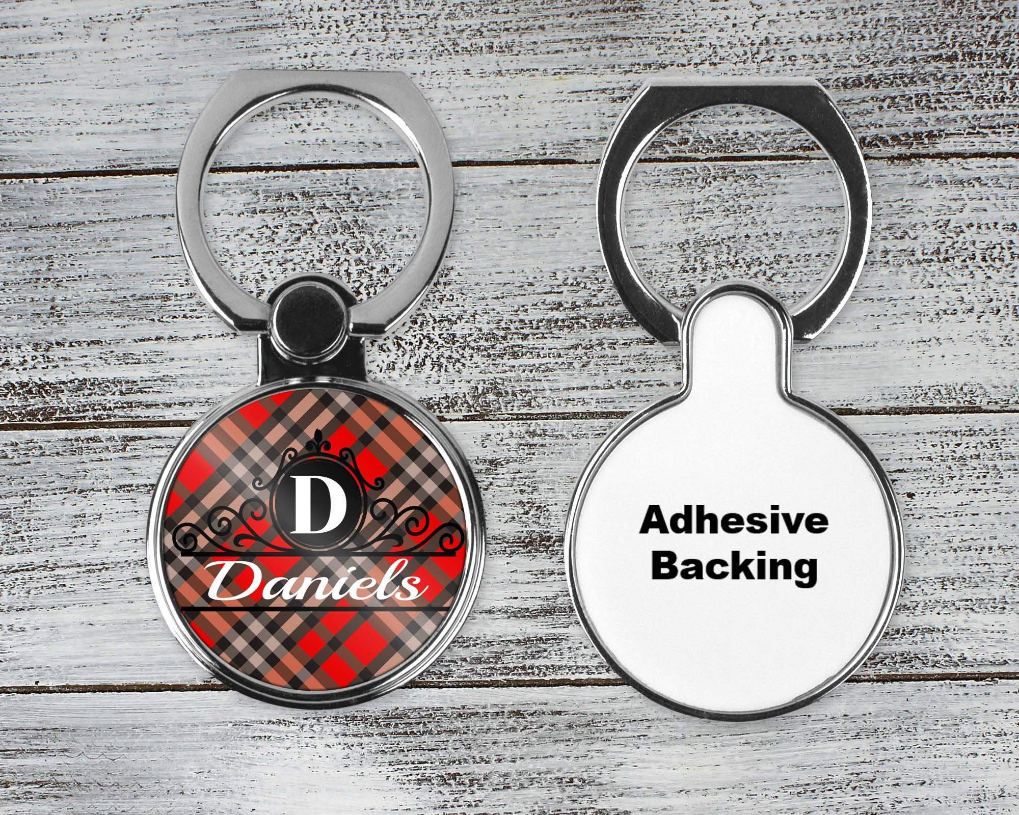 Phone Cases | Personalized Phone Ring Stand | Monogram Cell Phone Grip | Red and Black Plaid | This and That Solutions | Personalized Gifts | Custom Home Décor