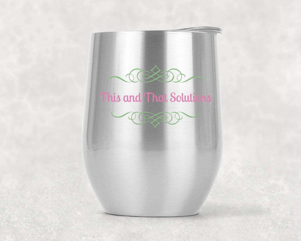 Wine Glasses - Personalized Stemless Wine Tumbler | Custom Wine Gifts | Company Logo | Wine Glass | Stainless Steel - This & That Solutions