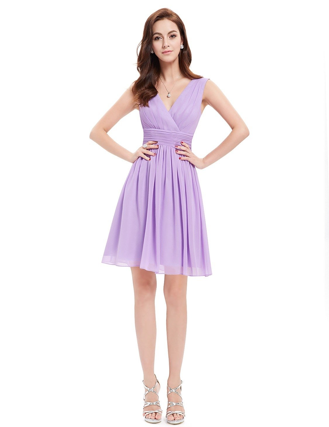 Purple Short Sleeveless Bridesmaid Dress