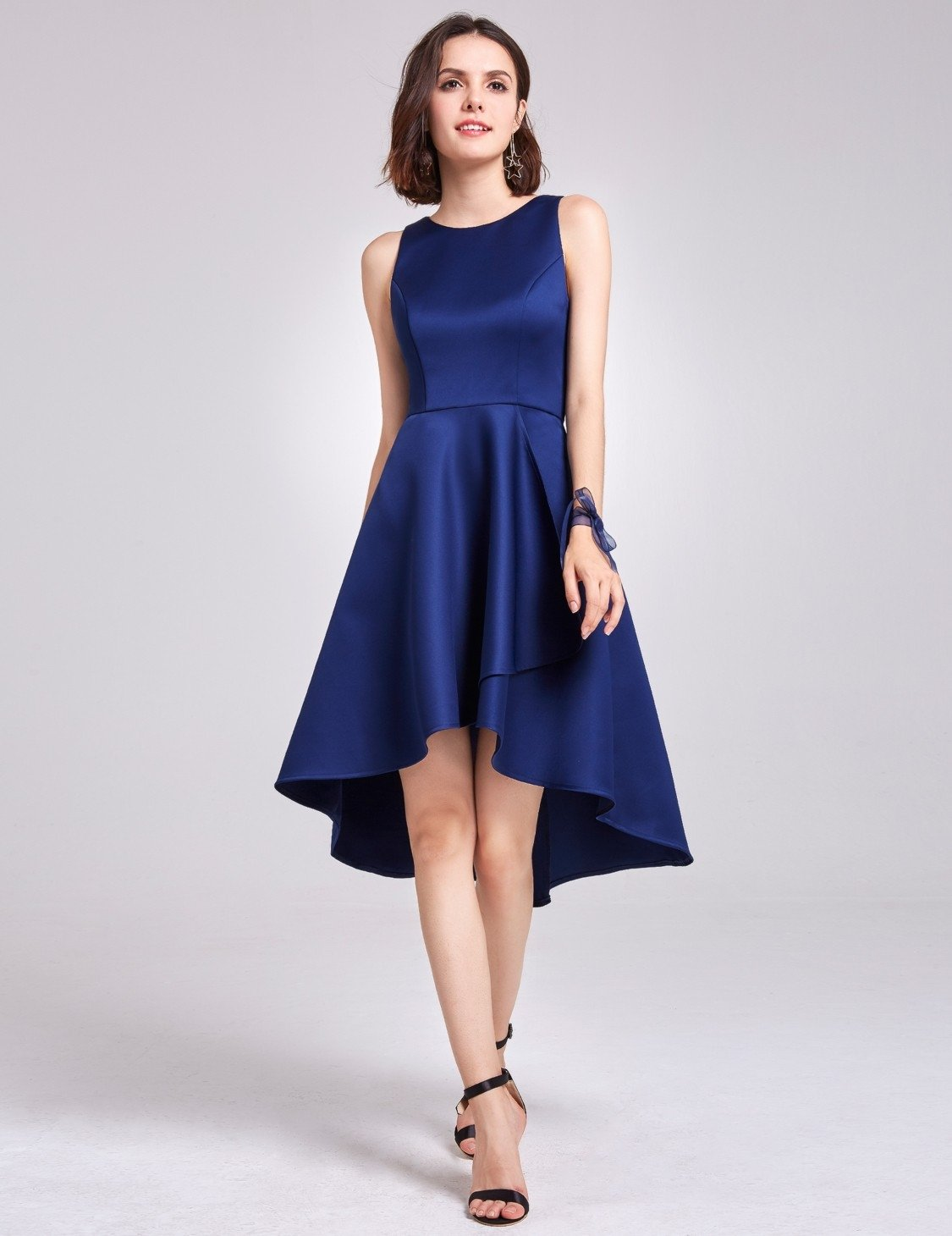 High Low Navy Blue Bridesmaid Dress