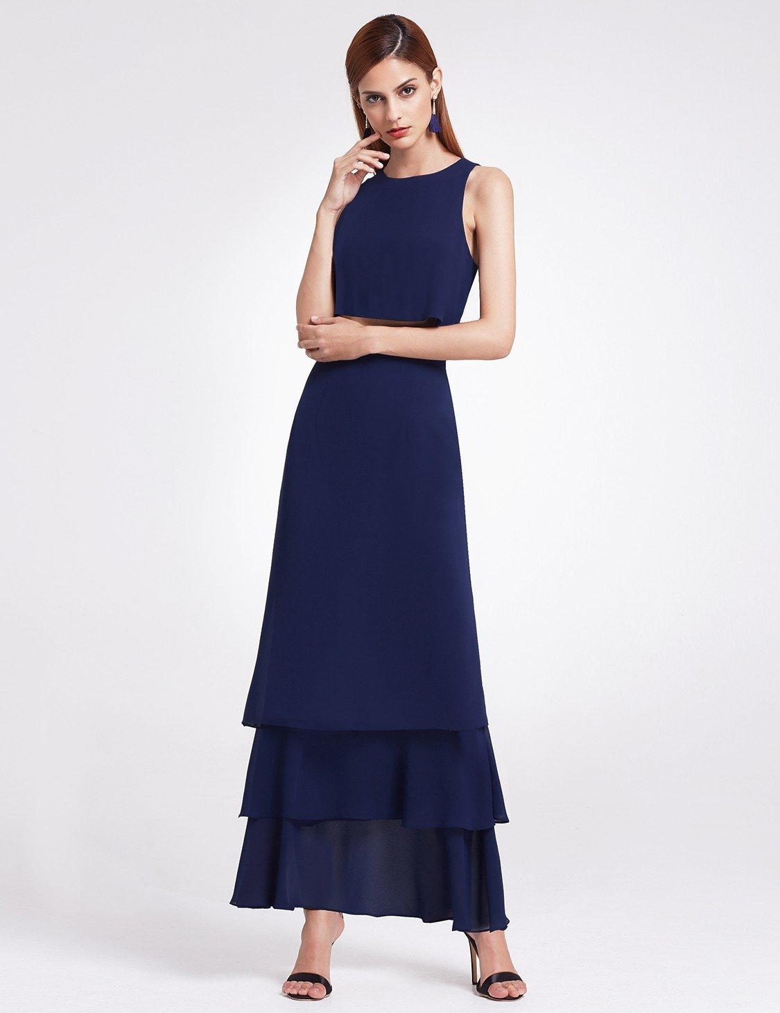Two Piece Maxi Skirt Top Navy Blue Bridesmaid Dress