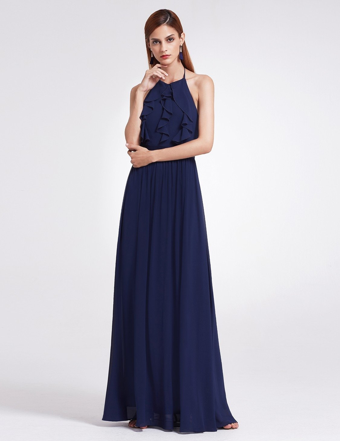 Navy Blue Sleeveless Halter Neck Bridesmaid Dress