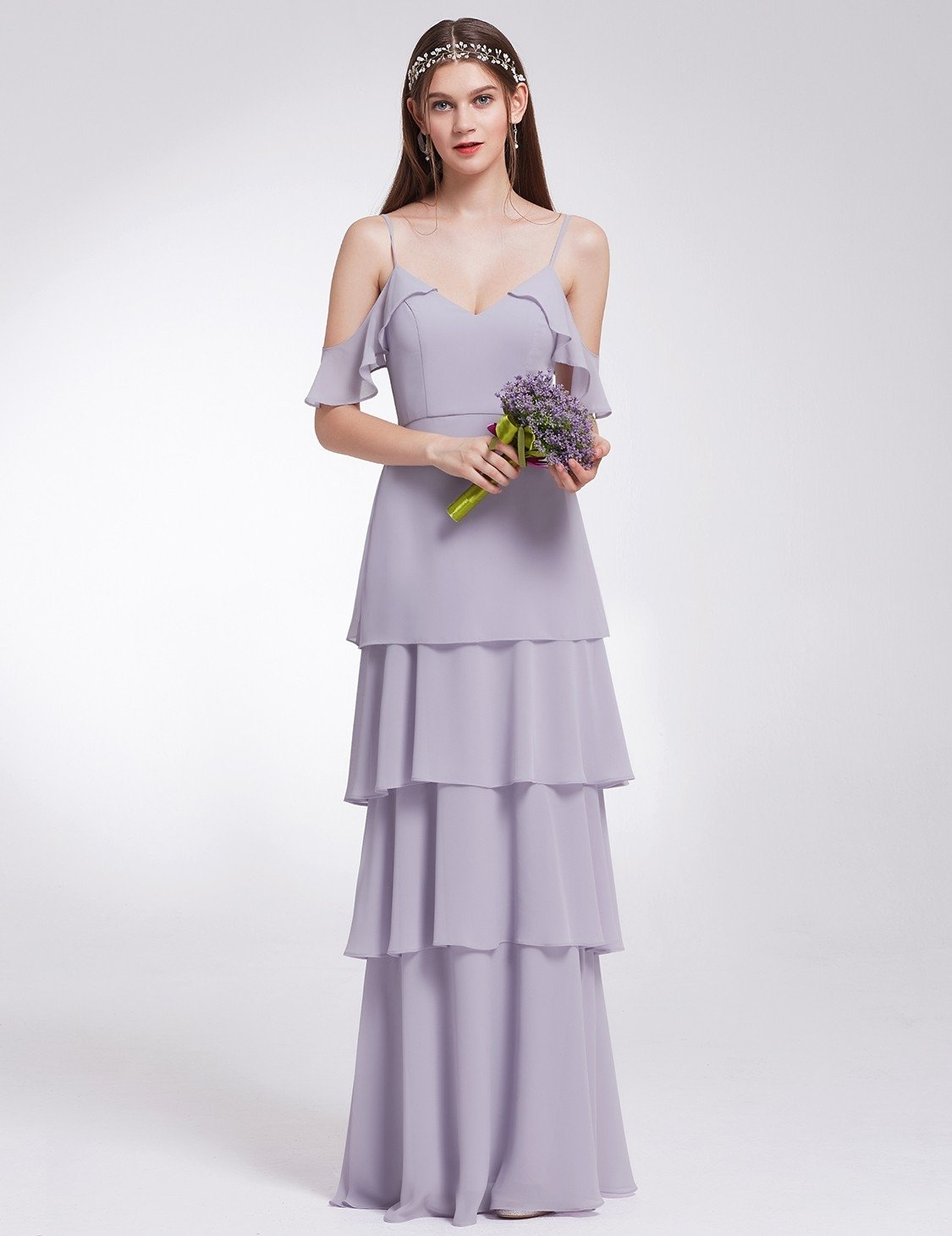 Off Shoulder V Neck Purple Bridesmaid Dress