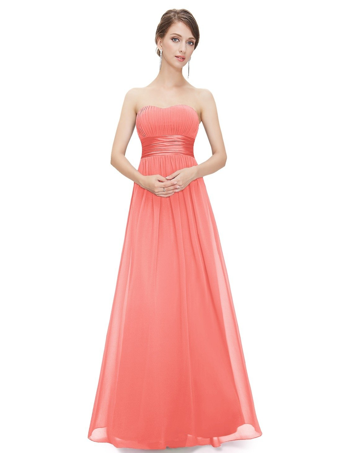 Strapless Empire Waist Long Coral Bridesmaid Dress