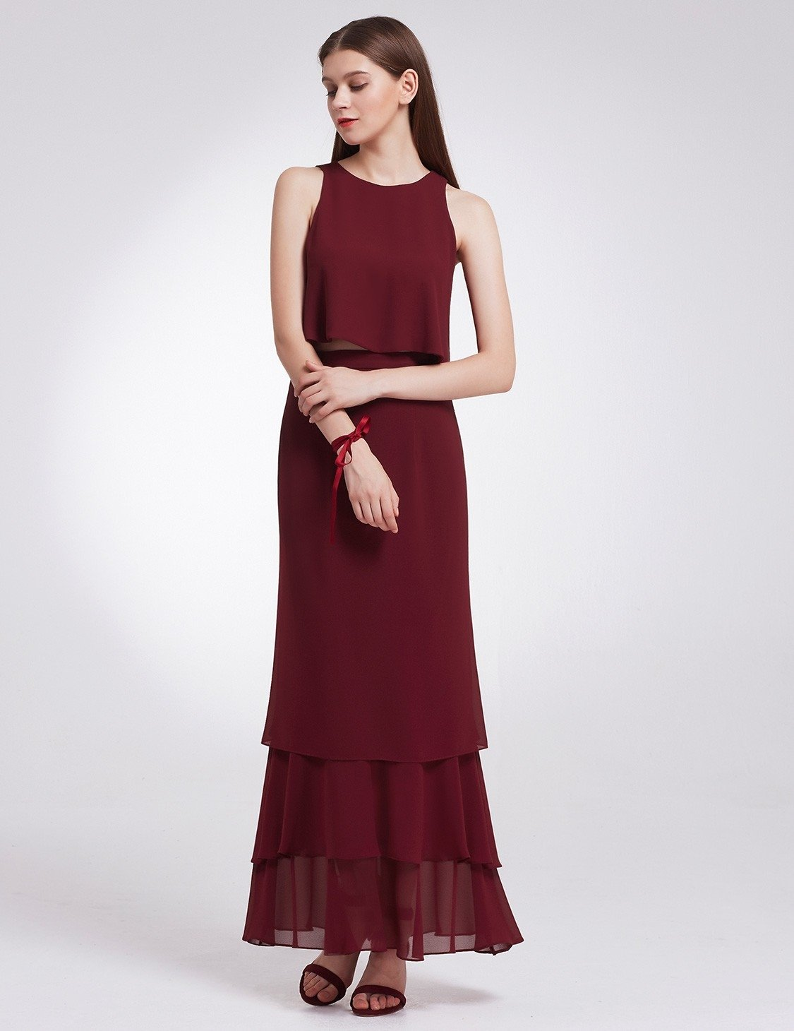 two piece burgundy bridesmaid dress