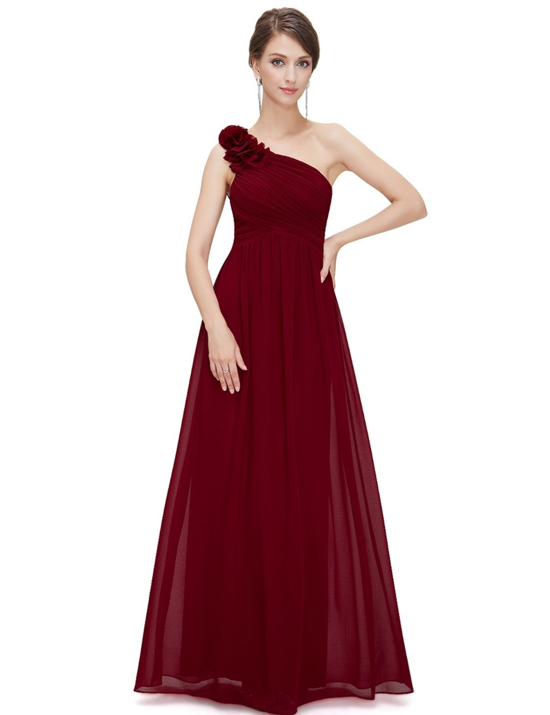 one shoulder burgundy bridesmaid dress
