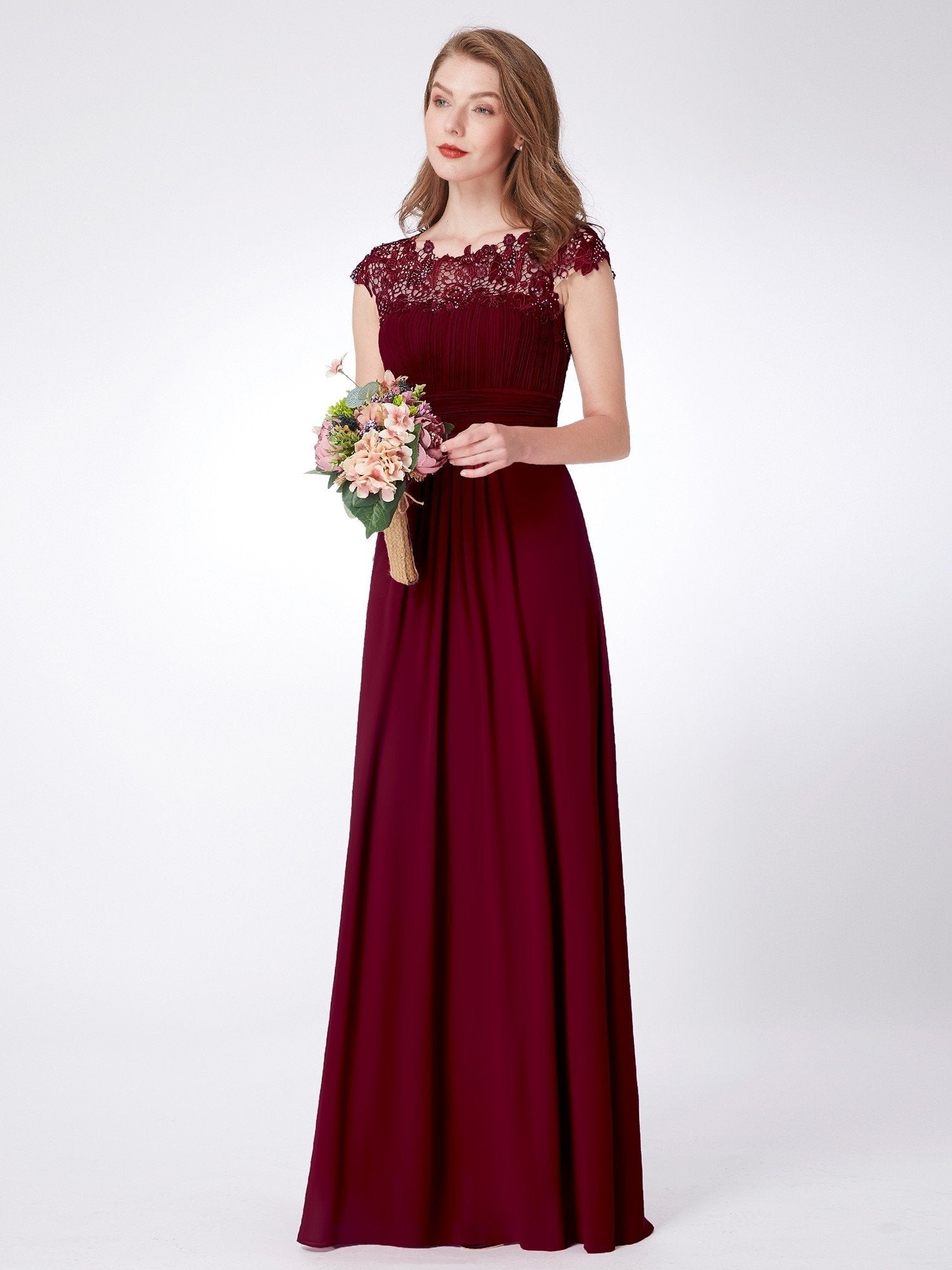 lace sleeve burgundy bridesmaid dress