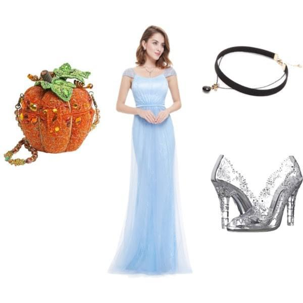 Cinderella Costume with Long Blue Dress