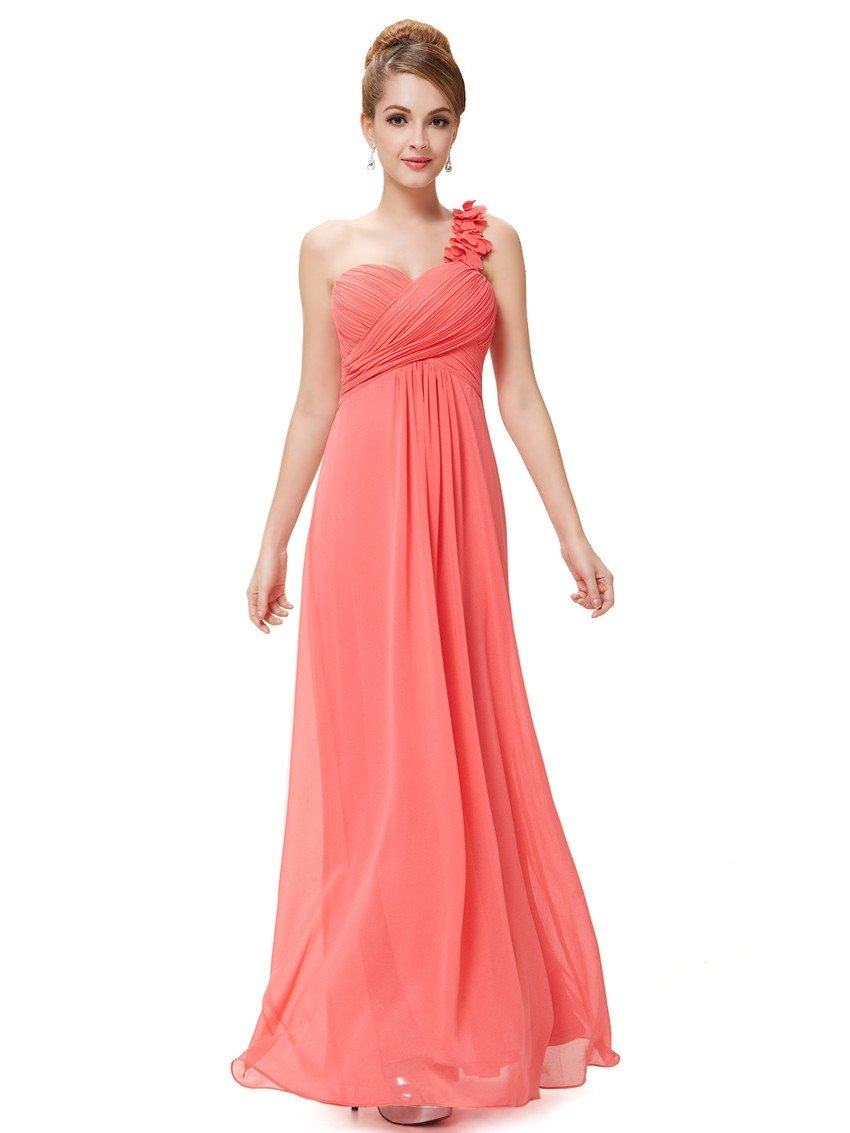 coral bridesmaid dress one shoulder