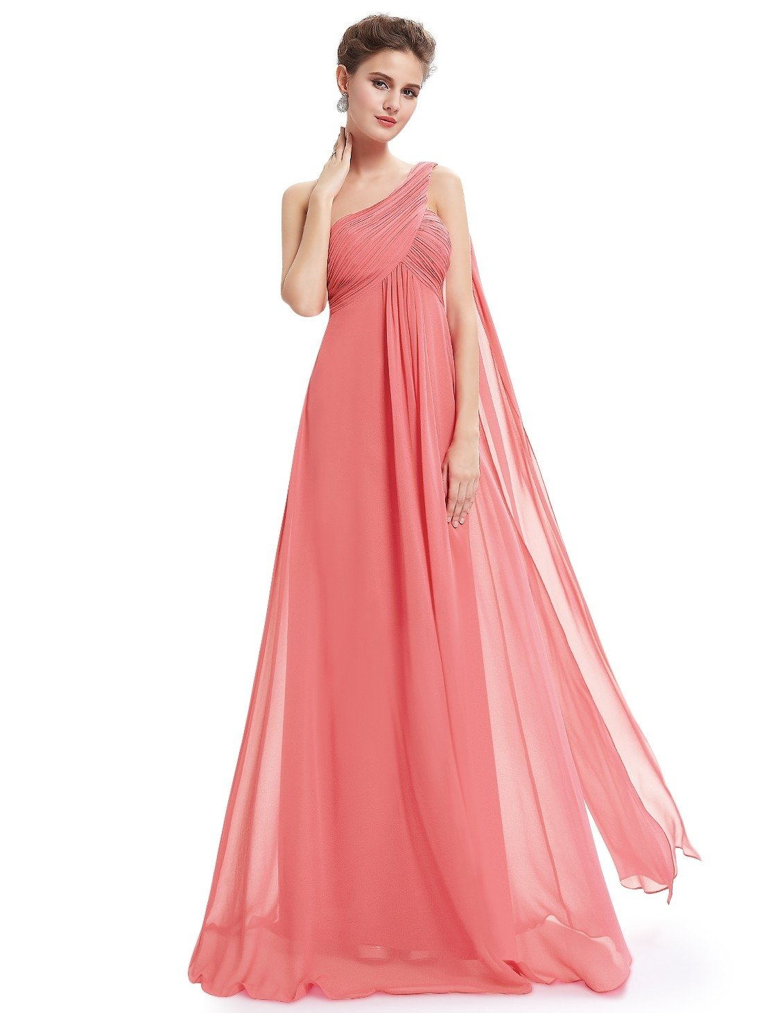 coral one shoulder evening dress