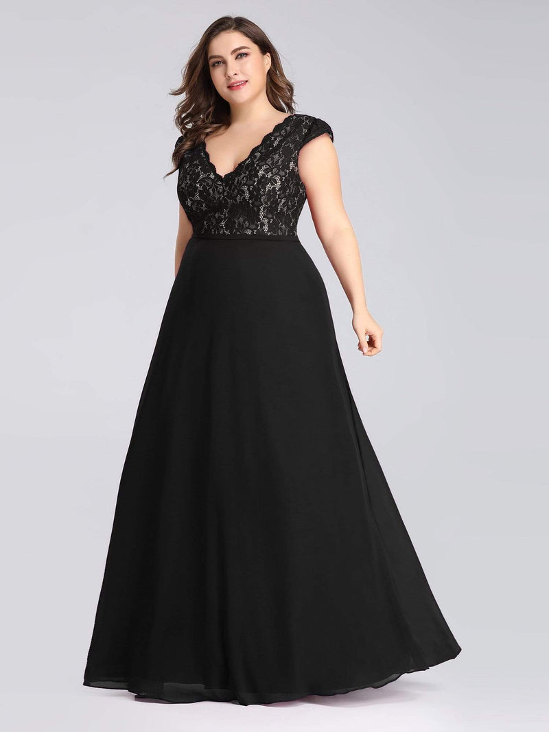 Plus Size Long Evening Dress With Lace Bust-Black 1