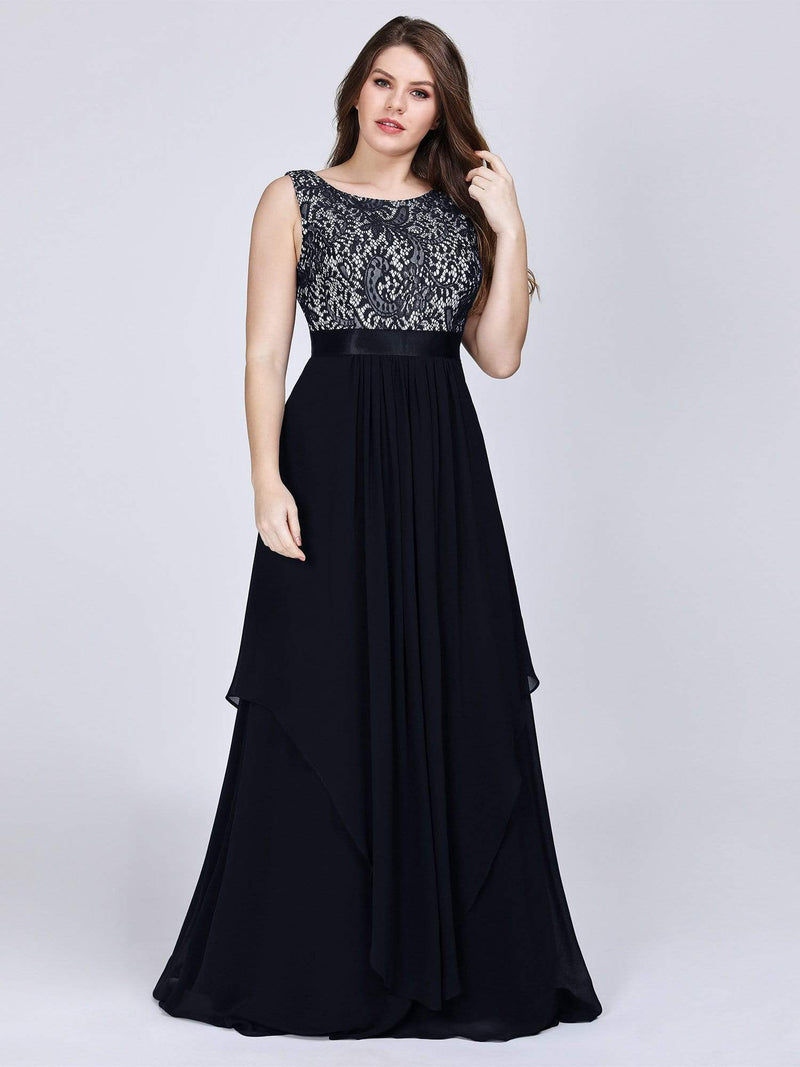 Plus Size Sleeveless Long Evening Dress With Lace Bodice-Black 3
