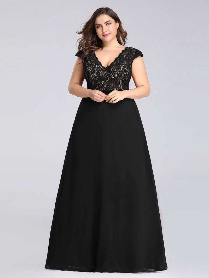 Plus Size Long Evening Dress With Lace Bust-Black 4