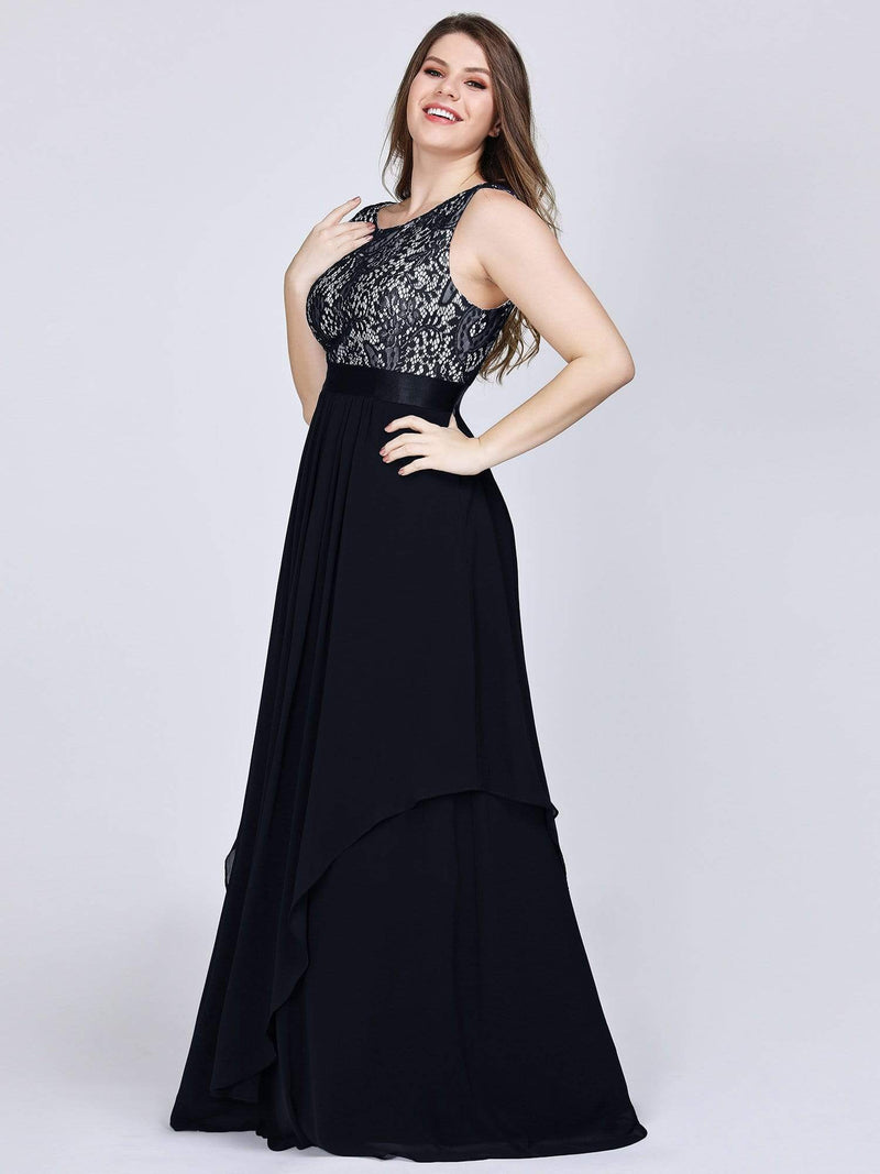 Plus Size Sleeveless Long Evening Dress With Lace Bodice-Black 2