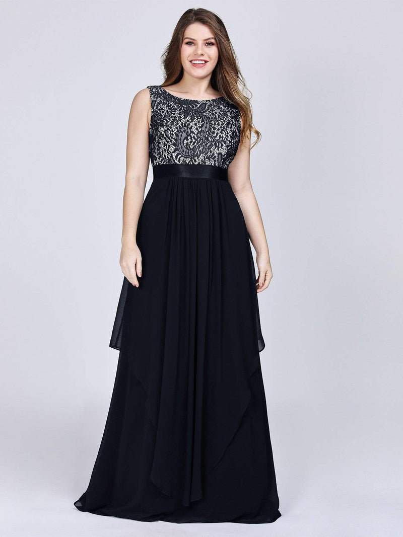 Plus Size Sleeveless Long Evening Dress With Lace Bodice-Black 1