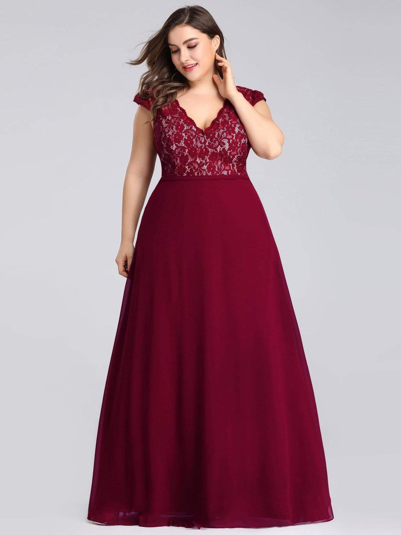 Plus Size Long Evening Dress With Lace Bust-Burgundy 2