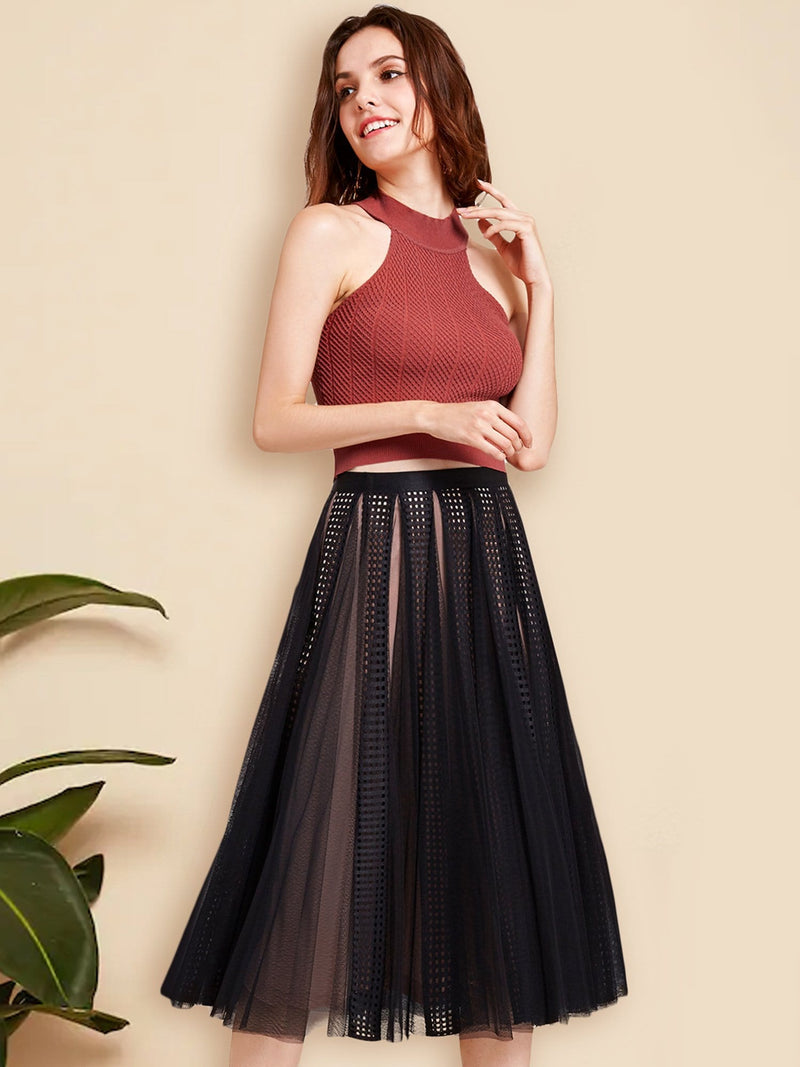Alisa Pan High Waisted Midi Skirt-Black  1