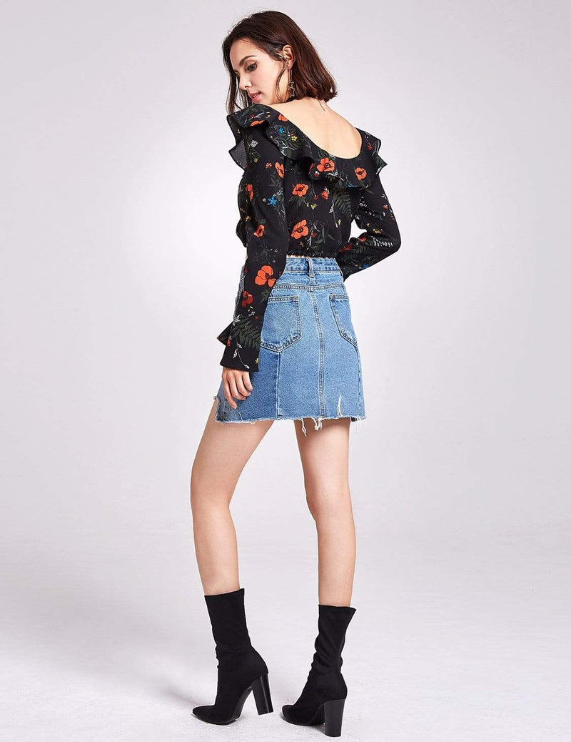 Alisa Pan Long Sleeve Printed Crop Top-Black 3