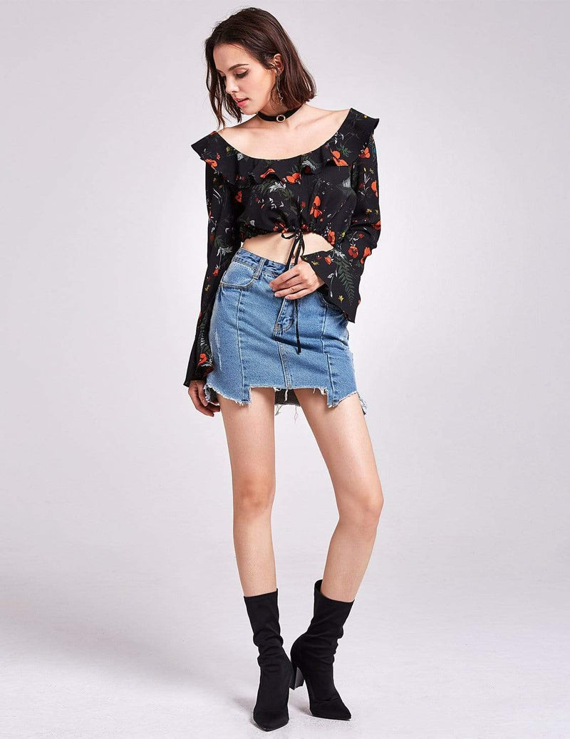 Alisa Pan Long Sleeve Printed Crop Top-Black 4