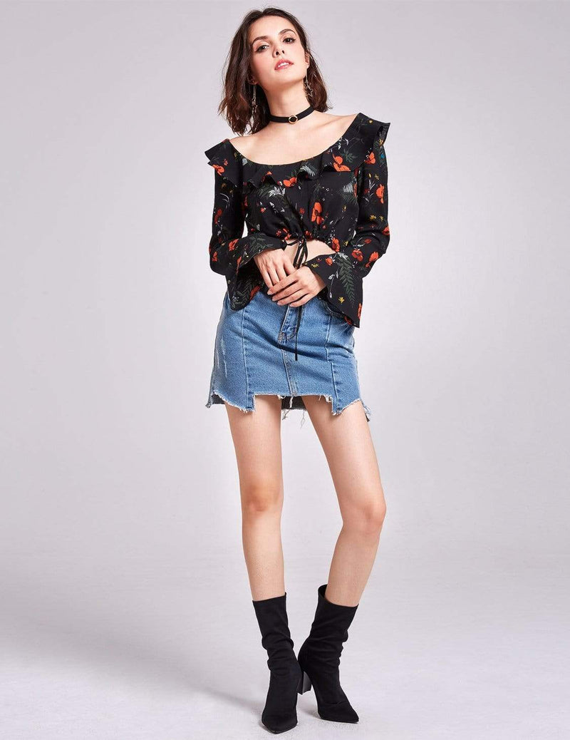 Alisa Pan Long Sleeve Printed Crop Top-Black 1