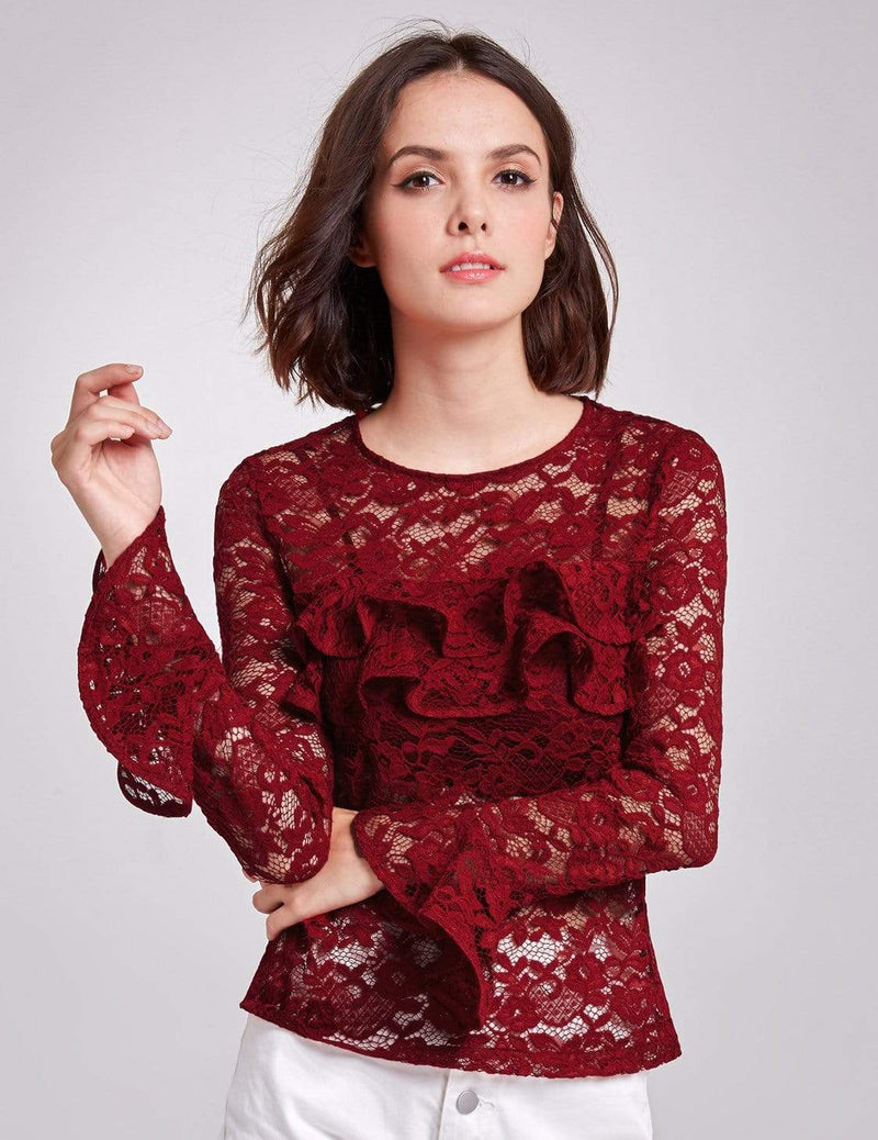 Alisa Pan Sheer Lace Long Sleeve Top-Burgundy 2