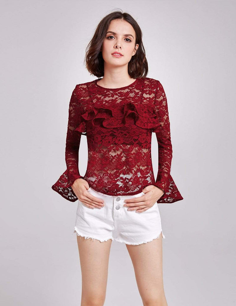 Alisa Pan Sheer Lace Long Sleeve Top-Burgundy 5