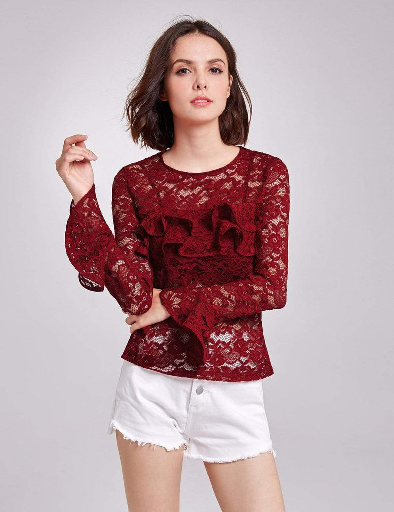 Alisa Pan Sheer Lace Long Sleeve Top-Burgundy 1