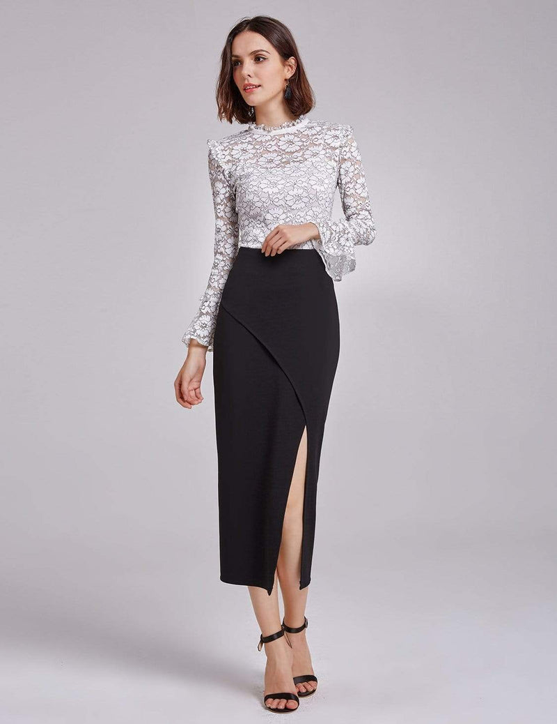 Alisa Pan Sexy High Waist Midi Skirt-Black 3