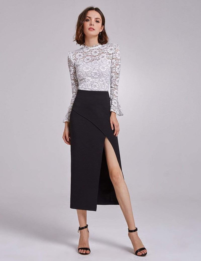 Alisa Pan Sexy High Waist Midi Skirt-Black 1