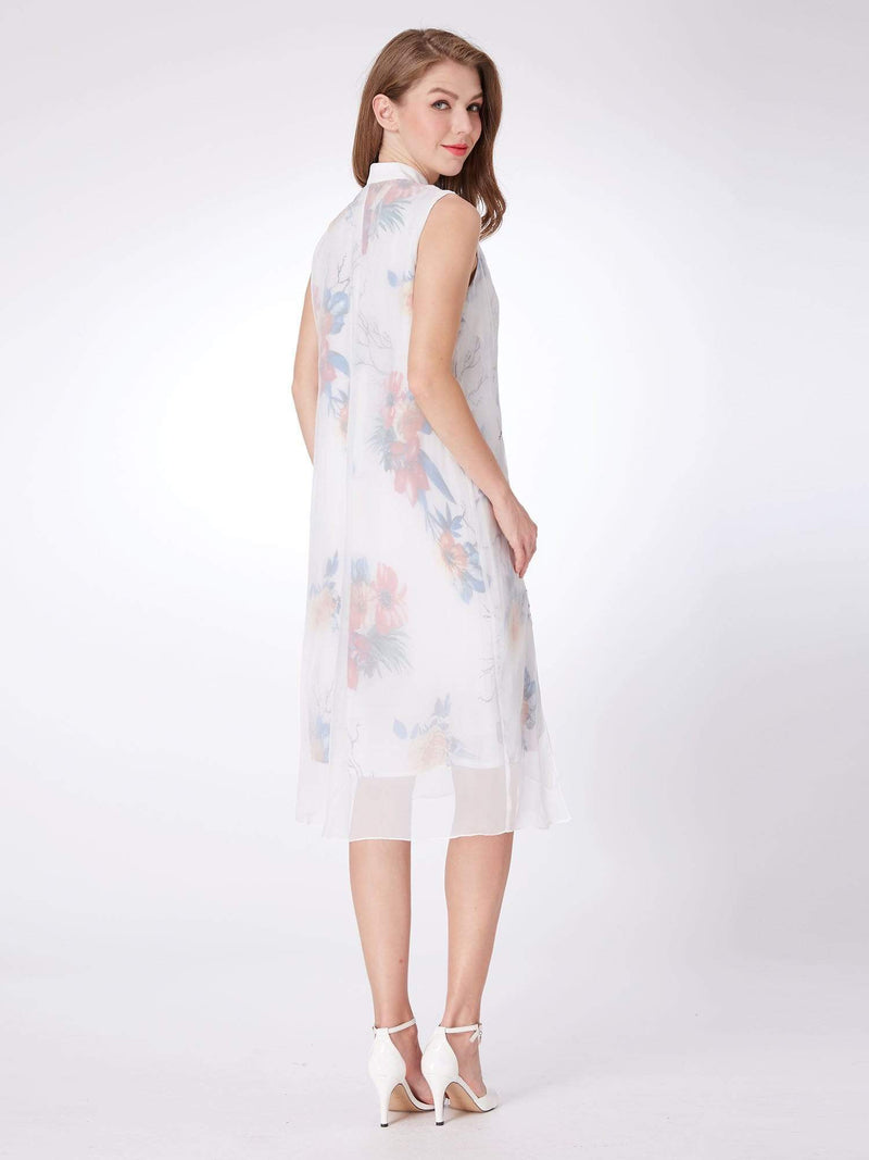 Alisa Pan Floral Print Short Shift Dress-White 2