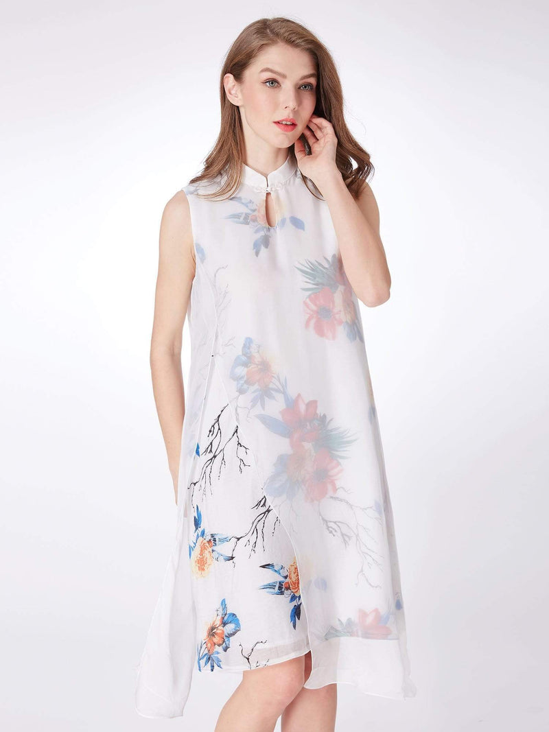 Alisa Pan Floral Print Short Shift Dress-White 3